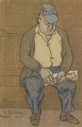 JOSEPH SOLMAN Seated Man with Hat and Newspaper on the Subway.