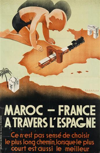 MEZQUITA (DATES UNKNOWN). MAROC - FRANCE A TRAVERS LESPAGNE. Circa. 1939. 39x26 inches, 100x66 cm. Graficas Valencia, Seville.