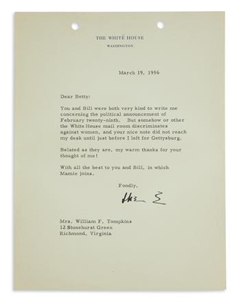 DWIGHT D. EISENHOWER. Typed Letter Signed, Ike E, as President, to Mrs. William F. Tompkins, thanking for writ...