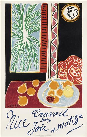 HENRI MATISSE (1869-1954). NICE / TRAVAIL & JOIE. 1947. 39x25 inches, 99x63 cm. Mourlot, Paris.