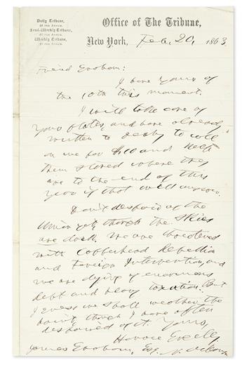 (CIVIL WAR.) GREELEY, HORACE. Autograph Letter Signed, to James Graham (Friend Graham),