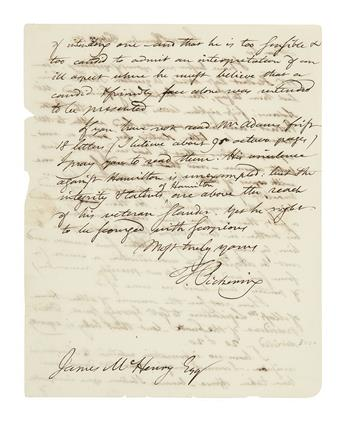 PICKERING, TIMOTHY. Autograph Letter Signed, T. Pickering, as Senator, to former Secretary of War James McHenry,