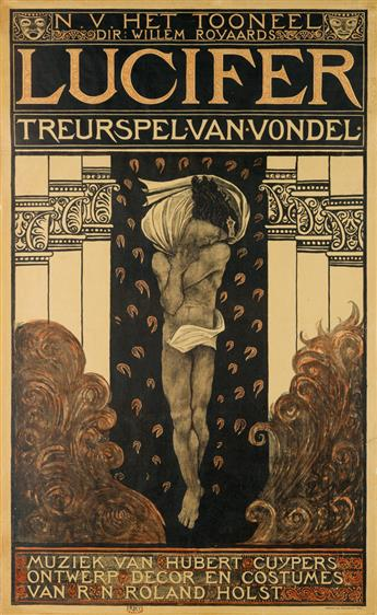 RICHARD N. ROLAND HOLST (1868-1938). LUCIFER / TREURSPEL VAN VONDEL. 1910. 48x29 inches, 122x75 cm. Tresling & Co., Amsterdam.