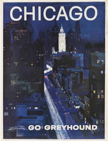 G. ROTH (DATES UNKNOWN). CHICAGO / GO GREYHOUND. Circa 1958. 39x30 inches, 101x76 cm.