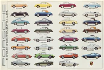 VARIOUS ARTISTS. PORSCHE. Group of 4 posters. Sizes vary.
