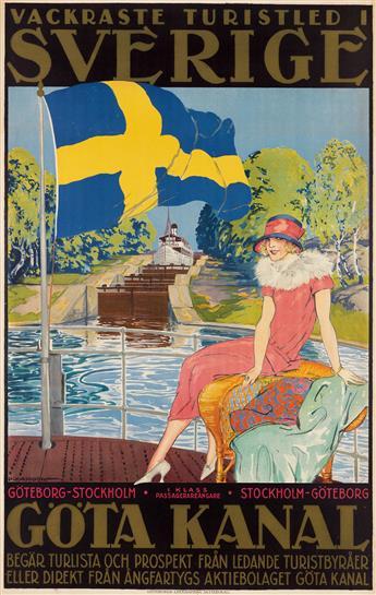 ALFRED PROESSDORF (1882-1925). SVERIGE / GÖTA CANAL. Circa 1920. 39x25 inches, 100x63 cm. Litografiska Aktiebolag, Goteborg.
