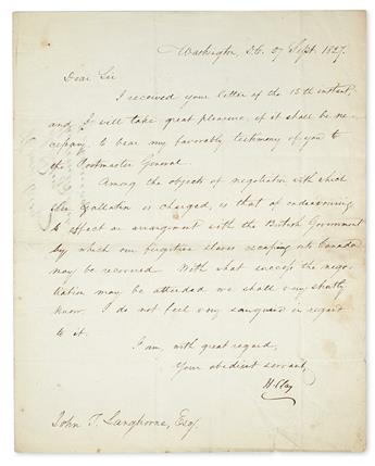 CLAY, HENRY. Letter Signed, H.Clay, as Secretary of State, to John T. Langhorne,