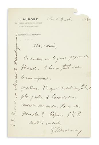 CLEMENCEAU, GEORGES. Autograph Letter Signed, GClemenceau, to Dear friend, in French,