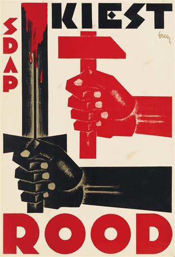 J. WALTER (DATES UNKNOWN). KIEST ROOD / SDAP. 1929. 31x21 inches, 80x54 cm.