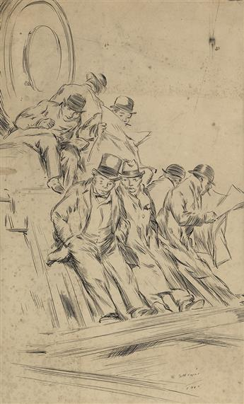 EVERETT SHINN The Commuters (Businessmen on the Front of a Railroad Locomotive).