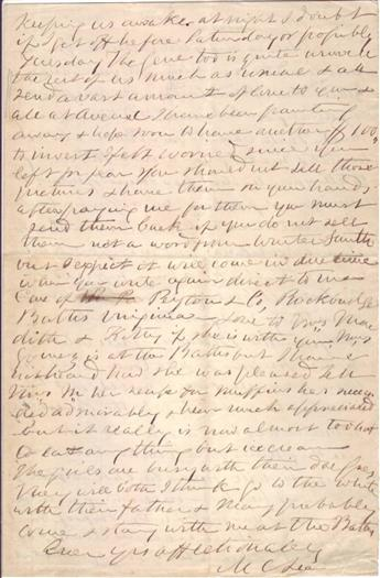 (LEE, ROBERT E.) LEE, MARY CUSTIS. Autograph Letter Signed, M CLee, to My dear Lottie,