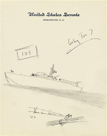 KENNEDY, JOHN F. Graphite drawing, unsigned, sketch showing a PT-109 in motion with U.S. flag waving on its flagstaff,