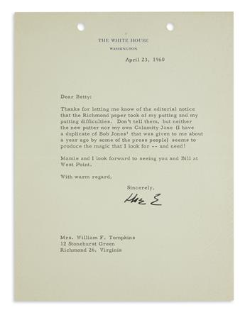 DWIGHT D. EISENHOWER. Typed Letter Signed, Ike E, as President, to Mrs. William F. Tompkins, thanking for poin...