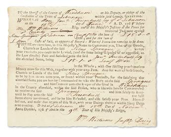 WILLIAMS, WILLIAM. Partly-printed Document Accomplished and Signed, Wm Williams twice, one within the text in third person, as Justic