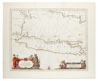 JANSSONIUS, JOHANNES. Insulae Javae Cum parte insularum Borneo Sumatrae et circumjacentium insularum novissima delineatio.