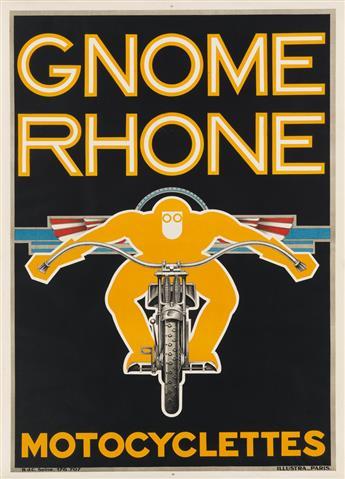 DESIGNER UNKNOWN. GNOME RHONE / MOTOCYCLETTES. Circa 1935. 43x31 inches, 111x79 cm. Illustra, Paris.