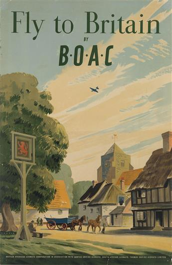 PAUL CHATER (DATES UNKNOWN). FLY TO BRITAIN BY B•O•A•C. 1948. 30x19 inches, 76x49 cm.