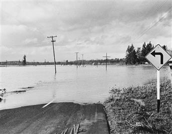 (SALEM, OREGON--THE CHRISTMAS FLOOD) Album with 42 photographs made in the days after the Christmas Flood, one of the worst disasters