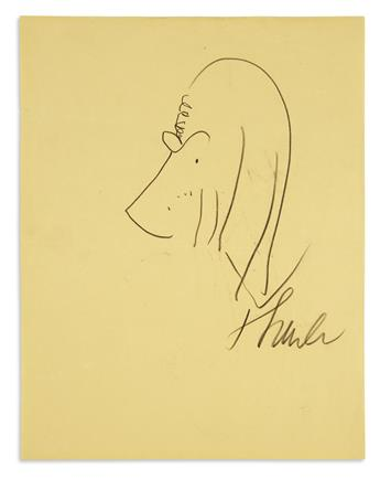 THURBER, JAMES. Graphite drawing Signed, Thurber, showing the profile of a droopy-eared and bespectacled dog.
