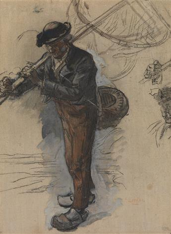 AUGUSTE-LOUIS LEPÈRE (Paris 1848-1918 Domme) A Landscape with a Fisherman.