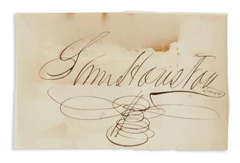 SAMUEL HOUSTON. Large clipped Signature, SamHouston / Texas, on a slip of paper. 4x6 inches; moderate scattere...