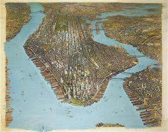 (NEW YORK CITY.) Large birds-eye view of New York City.