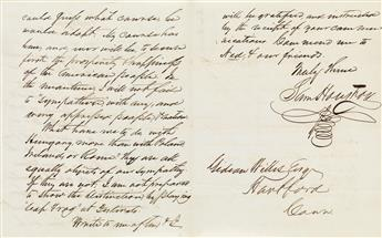 AMERICA FIRST: MY COURSE . . . TO SECURE FIRST . . . THE AMERICAN PEOPLE SAMUEL HOUSTON. Autograph Letter S...