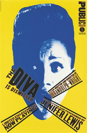 PAULA SCHER (1948- ). THE PUBLIC THEATER. Group of 7 posters. Circa 1990s. Each approximately 46x30 inches, 116x76 cm.