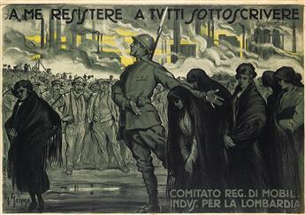 GIOVANNI GREPPI (1884-1960). A ME RESISTERE A TUTTI SOTTOSCRIVERE. 27x39 inches, 70x100 cm. Ripalta, Milan.