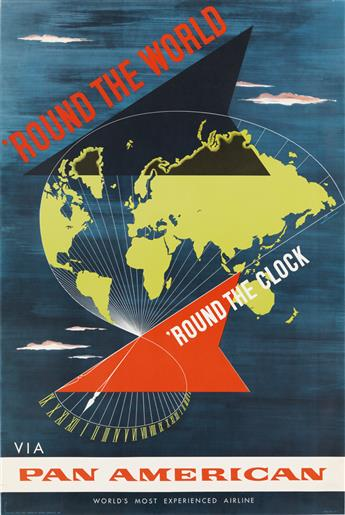 LOWEREE (DATES UNKNOWN). ROUND THE WORLD / ROUND THE CLOCK / VIA PAN AMERICAN. 1955. 42x28 inches, 107x72 cm.