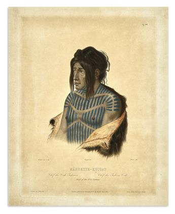 BODMER, KARL. Mahsette-Kuiuab. Chief of the Cree Indians. Vig. XXII.