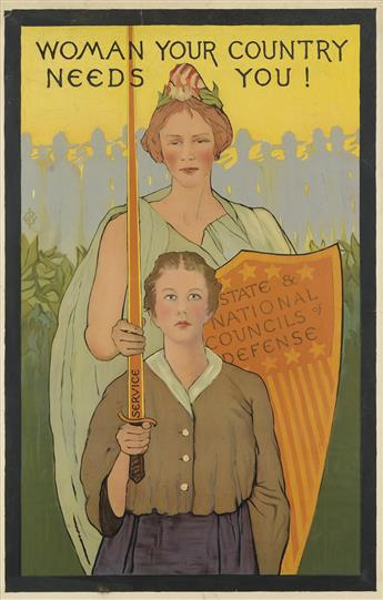 MONOGRAM UNKNOWN. WOMAN YOUR COUNTRY NEEDS YOU! Circa 1917. 45x29 inches, 116x75 cm.