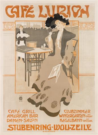 EMIL RANZENHOFER (1864-1930). CAFÉ LURION. 1903. 49x36 inches, 125x92 cm. J. Weiner, Vienna.