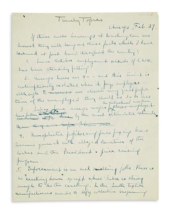 THOMAS, NORMAN. Three items: Autograph Letter Signed * Autograph Manuscript, unsigned * Lengthy Letter Signed.