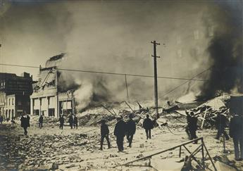 (SAN FRANCISCO EARTHQUAKE & FIRE) A remarkable collection of 40 photographs detailing the insurmountable destruction throughout San Fra