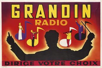 P. DUMONT (DATES UNKNOWN). GRANDIN RADIO. Circa 1950s. 31x47 inches, 79x120 cm. Chaufour, [Paris.]