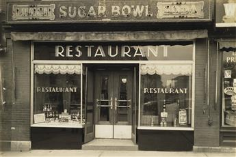 (BARS, GRILLS, RESTAURANTS, AND LIQUOR STORES--LIQUOR LICENSE) Suite of 48 photographs depicting storefronts and interiors of liquor su