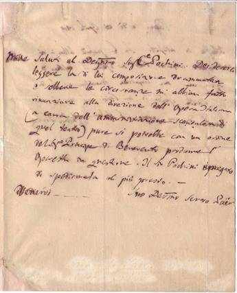 PAER, FERDINANDO. Autograph Letter Signed, Paer, to writer Count Pochini,