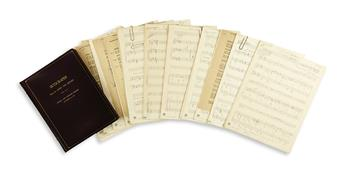 VAN HEUSEN, JIMMY. 12 Autograph Musical Manuscripts Signed, working drafts of the vocal score for the musical Skyscraper, in pencil and