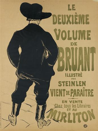 HENRI DE TOULOUSE-LAUTREC (1864-1901). LE DEUXIÈME VOLUME DE BRUANT / MIRLITON. 1893. 32x23 inches, 81x60 cm. Chaix, Paris.