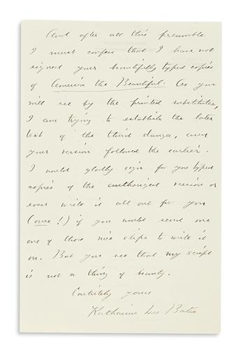 BATES, KATHARINE LEE. Autograph Letter Signed, to My dear Dr. Green,