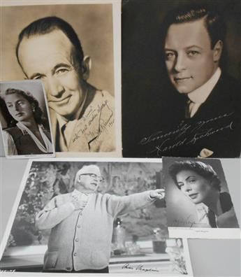 (ENTERTAINERS.) Group of 5 Photographs Signed, or Signed and Inscribed.