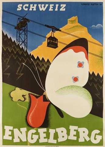 HERBERT MATTER (1907-1984). ENGELBERG. 1928. 50x35 inches, 127x90 cm. Orell Fussli, Zurich.