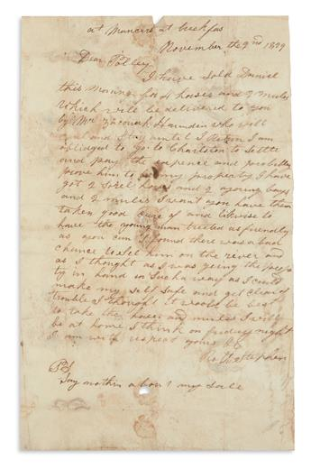 (SLAVERY AND ABOLITION.) Small archive dealing with runaways and slave sales by Robert Stephen.