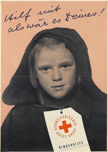 HERMANN EIDENBENZ (1902-1993). SCHWEIZERISCHES ROTES KREUZ / KINDERHILFE. 1946. 50x35 inches, 127x90 cm. Roto-Sadag, Geneva.