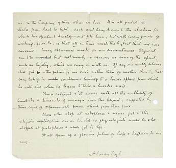 DOYLE, ARTHUR CONAN. Autograph Manuscript Signed, AConan Doyle, draft of a statement outlining his conception of spiritualism