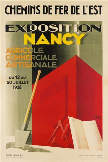 PAUL COLIN (1892-1985). EXPOSITION NANCY. 1928. 47x31 inches, 120x79 cm. Hachard & Cie, Paris.
