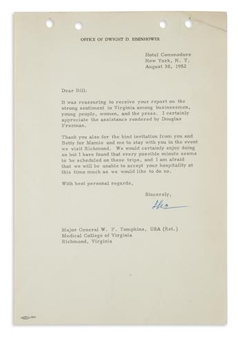 DWIGHT D. EISENHOWER. Group of three Typed Letters Signed, Ike, each to William F. Tompkins, sharing excitemen...