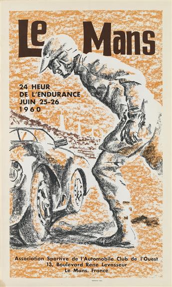 DESIGNER UNKNOWN. LE MANS. 1960. 22x13 inches, 57x35 cm. Photolith, Paris.