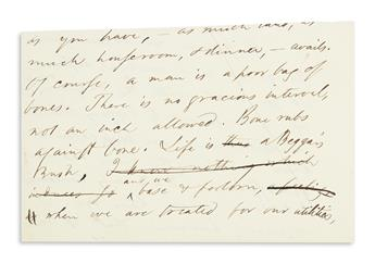 EMERSON, RALPH WALDO. Autograph Manuscript, unsigned, fragment from a draft of his lecture, Aristocracy,